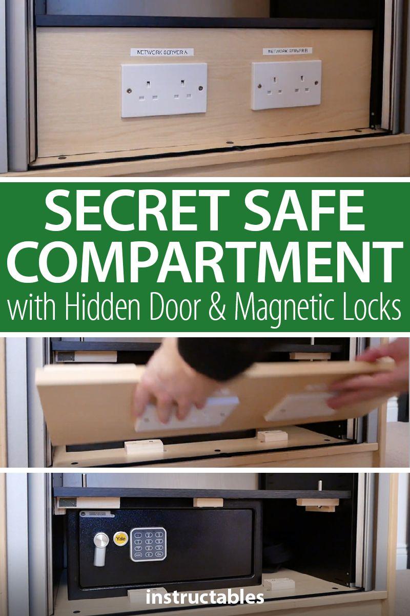 Secret Safe Compartment With Hidden Door And Magnetic Locks In