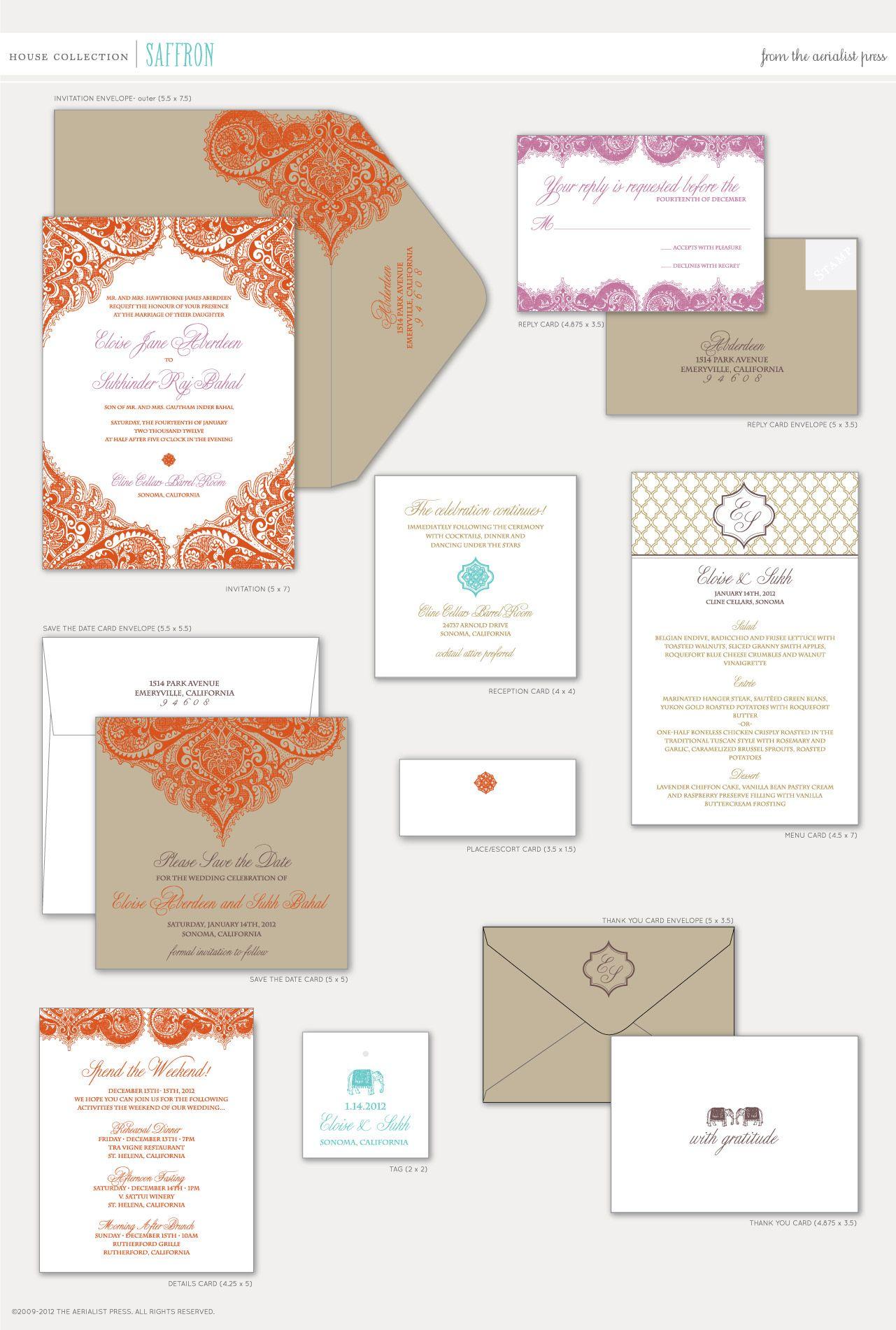 Aerialist Press // Saffron Letterpress Wedding Invitation // South ...