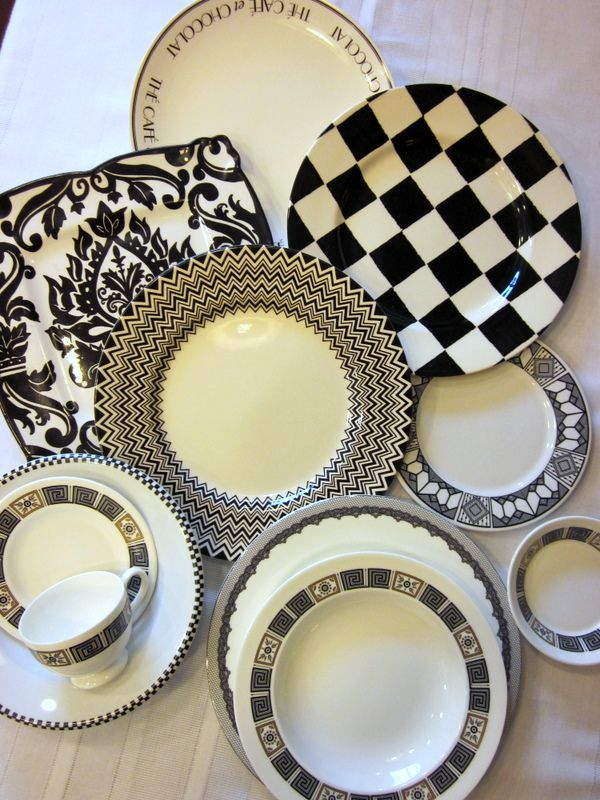 black and white dishes home goods | HomeGoods | Holidays In Black And White & Holidays In Black And White | White dishes White plates and Dishes