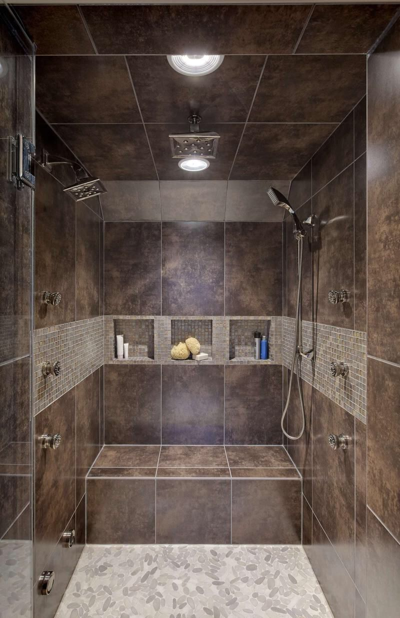 Image from http www novisti com images 2015 01 beautiful walk in shower without door design dark brown porcelain bath wall bath shelves in wall modern