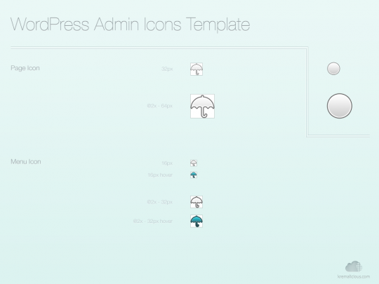 WordPress Admin Icons Template - Filled