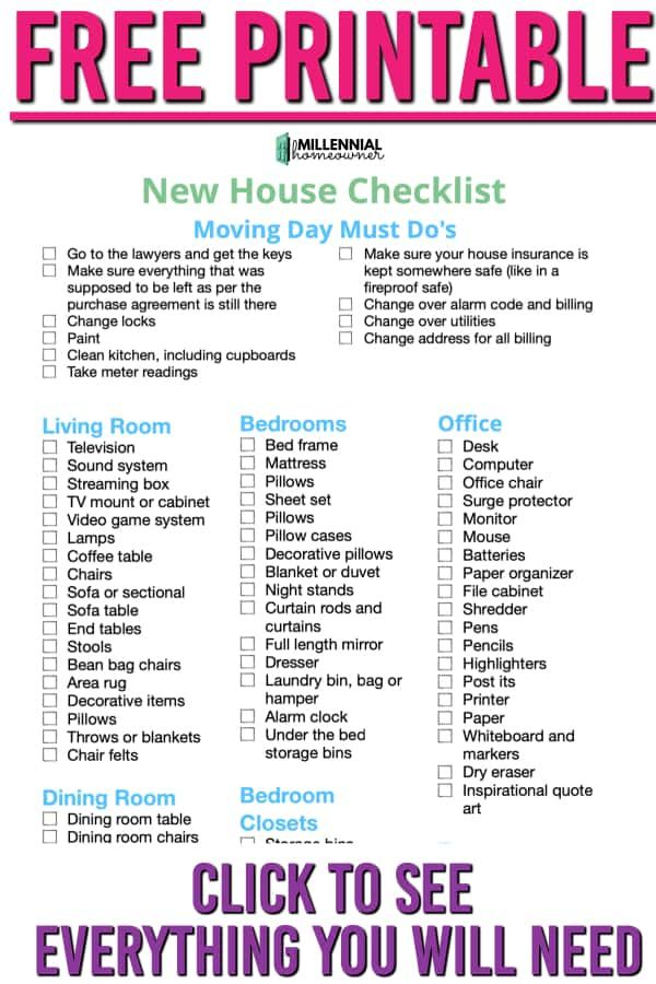 Wondering what essentials you need for your first house? Get this free first home checklist and get collecting what you need. Our first home checklist is a free printable just for you! #moving #house #firsthome #checklist #free #printable
