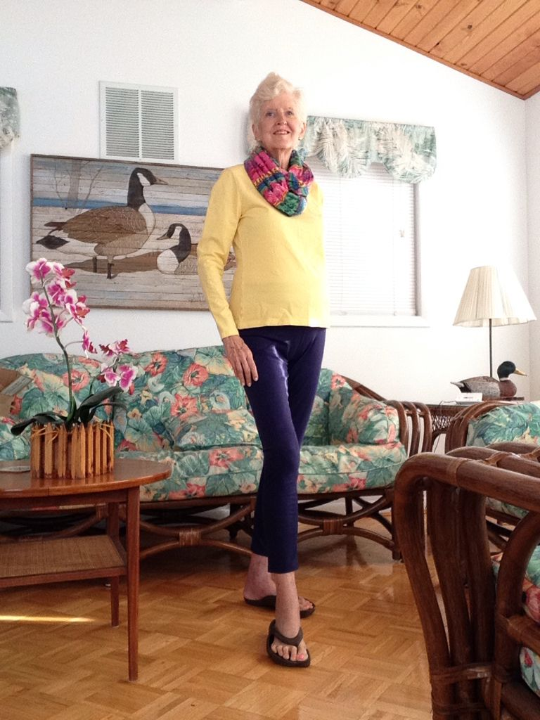 Yellow top, blue yoga pants, multi scarf | My Fashion style for ...