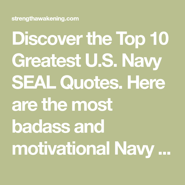 Navy Seal Quotes Delectable Discover The Top 10 Greatest U.snavy Seal Quoteshere Are The .