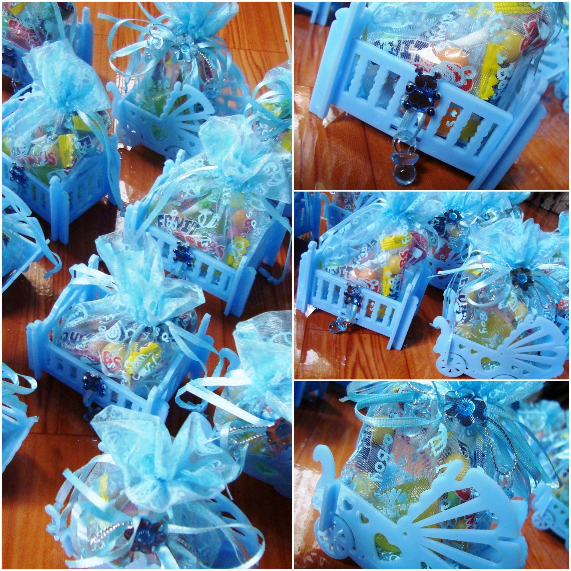 Baptismal Giveaways Cribs Baby Candies Blue Baptism