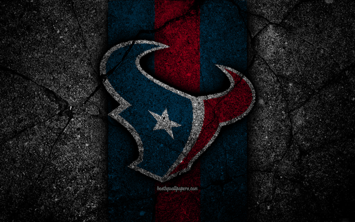 Download wallpapers 4k, Houston Texans, logo, black stone