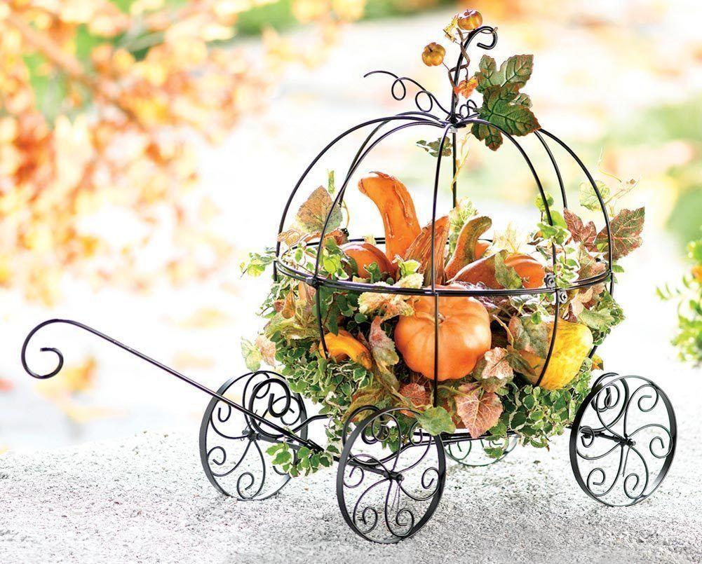 Pumpkin Coach Metal Carriage Planter Outdoor Garden Fairy Tale Halloween Harvest Pumpkin Coach Metal Pumpkins Pumpkin Carriage