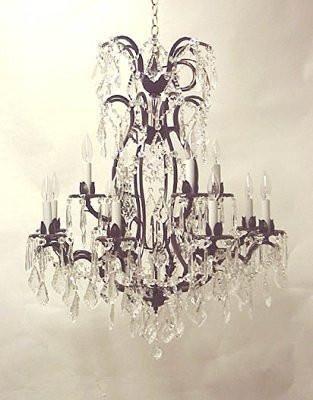 Wrought Iron Crystal Chandelier W Swarovski Crystal H36 X W28