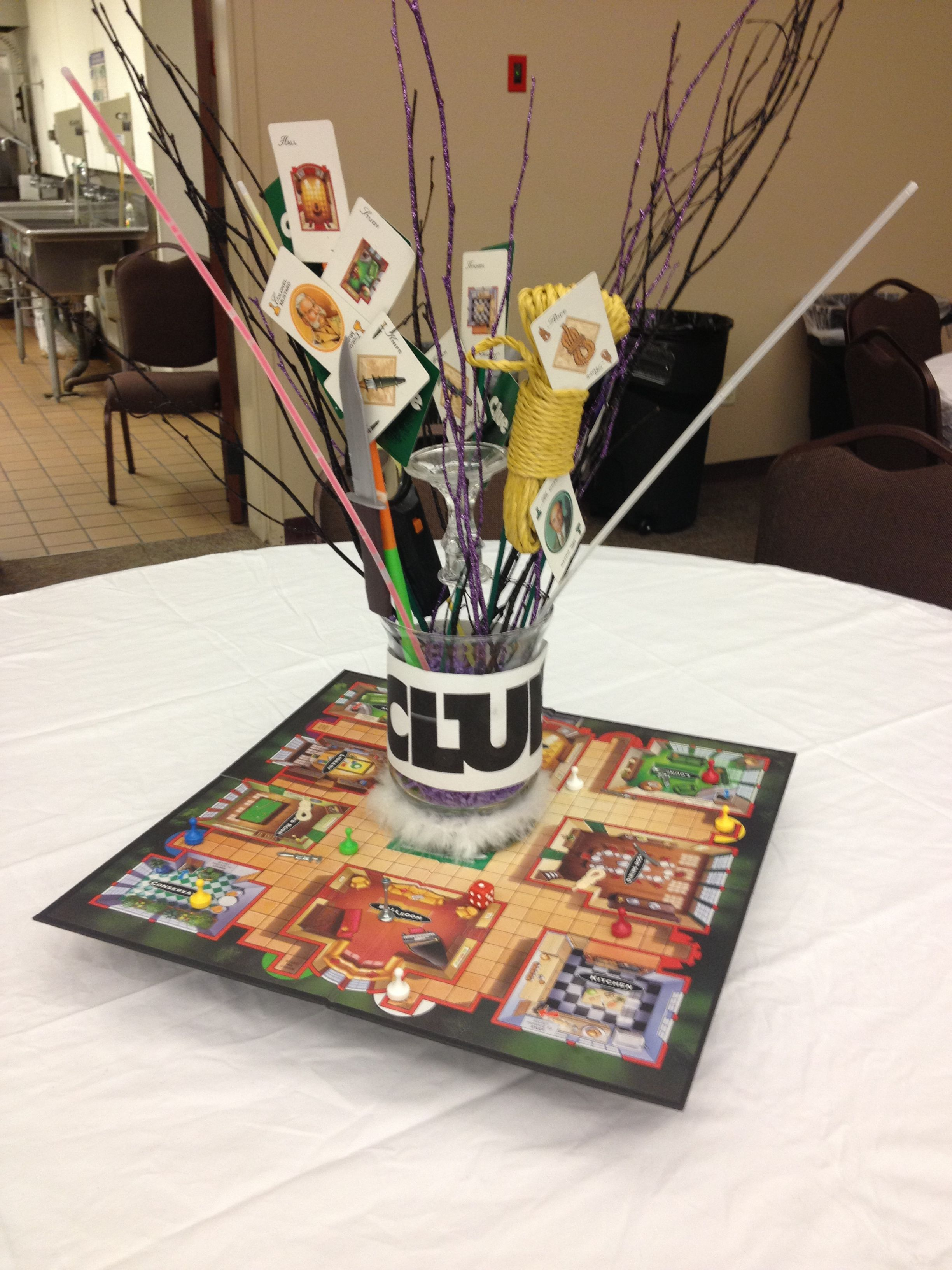 Clue Game Centerpiece Clue Games Clue Themed Parties Game Night Parties