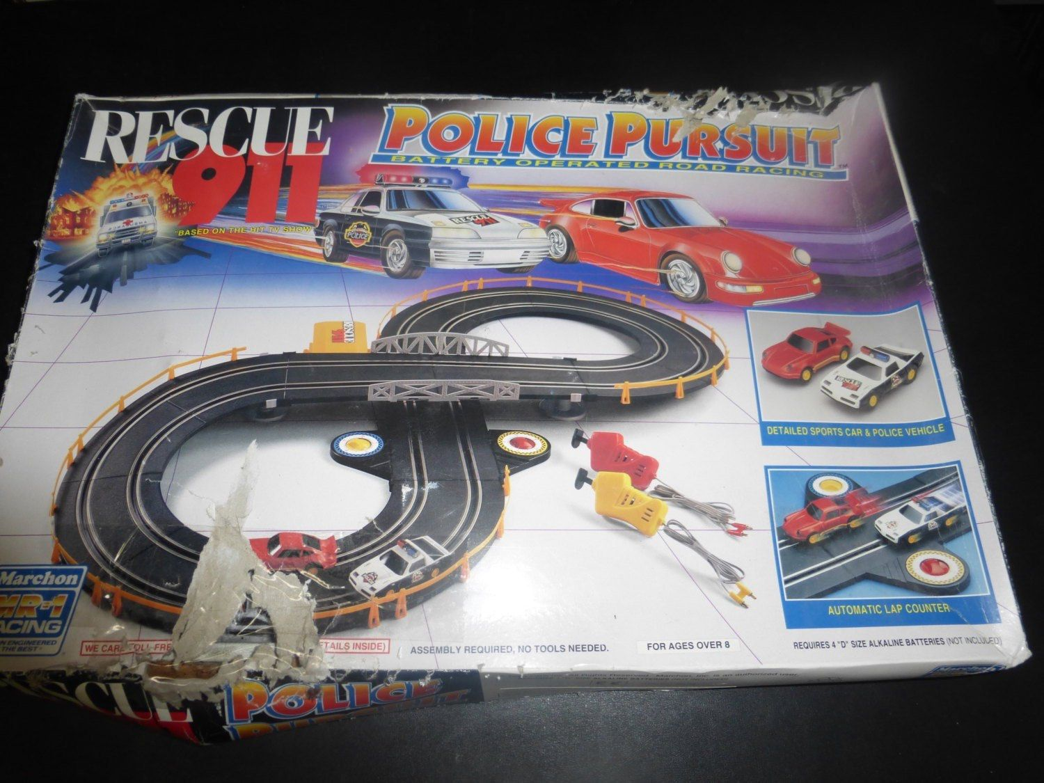 vintage toy car race track rescue 911 race track two race cars vintage