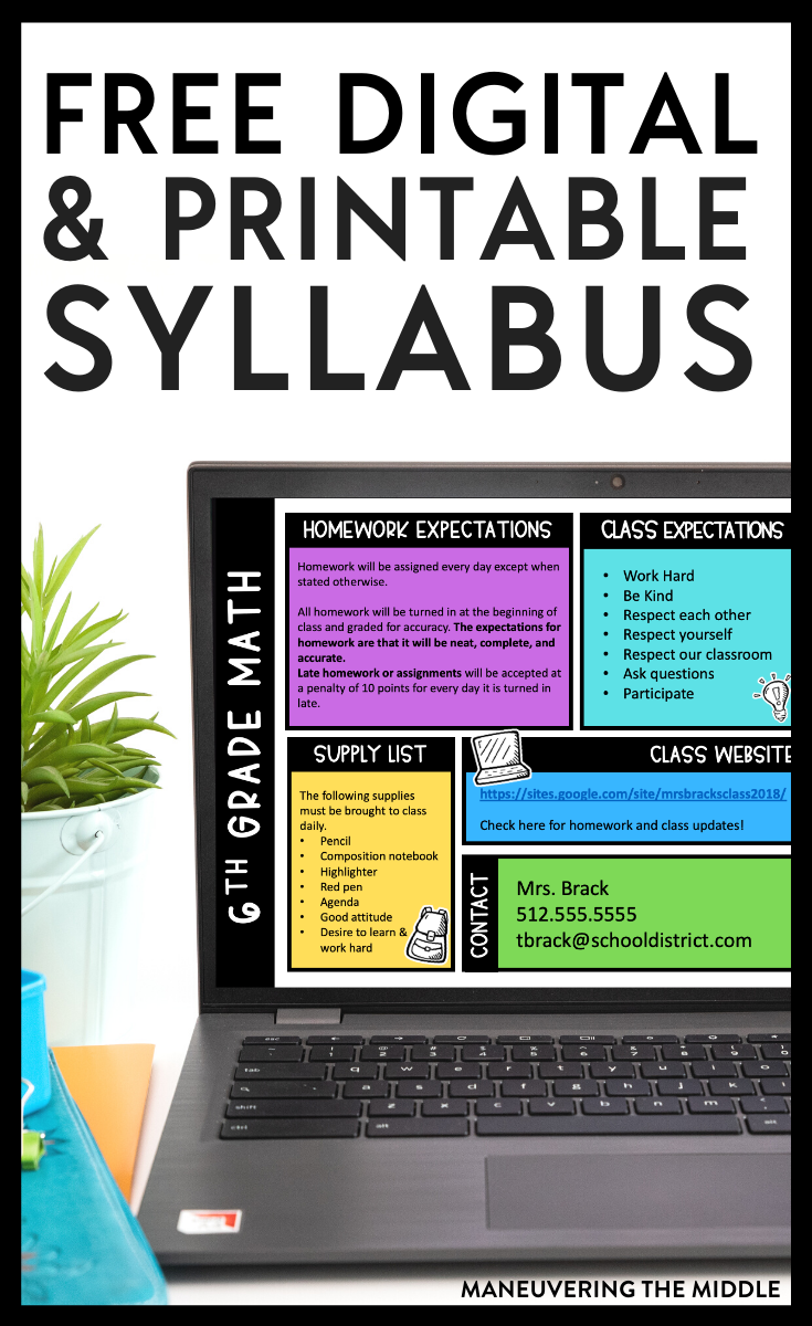 Your class syllabus does not have to be boring! It can be interesting & informative. Get your hands on a free, editable printable AND DIGITAL syllabus. | maneuveringthemiddle.org