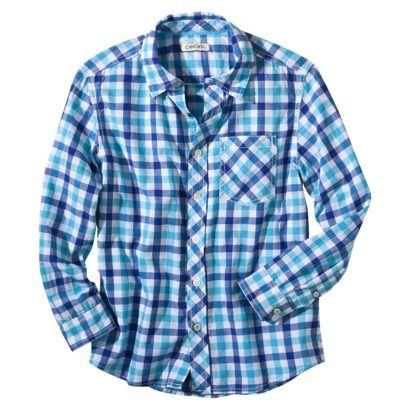 79cd63218 Cherokee® Boys Long-Sleeve Button Up Shirt -Aqua.Opens in a new window