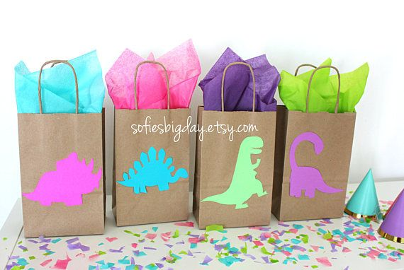 Dinosaur Party Favor Bags Girl Birthday Jurassic Park Bag Dino