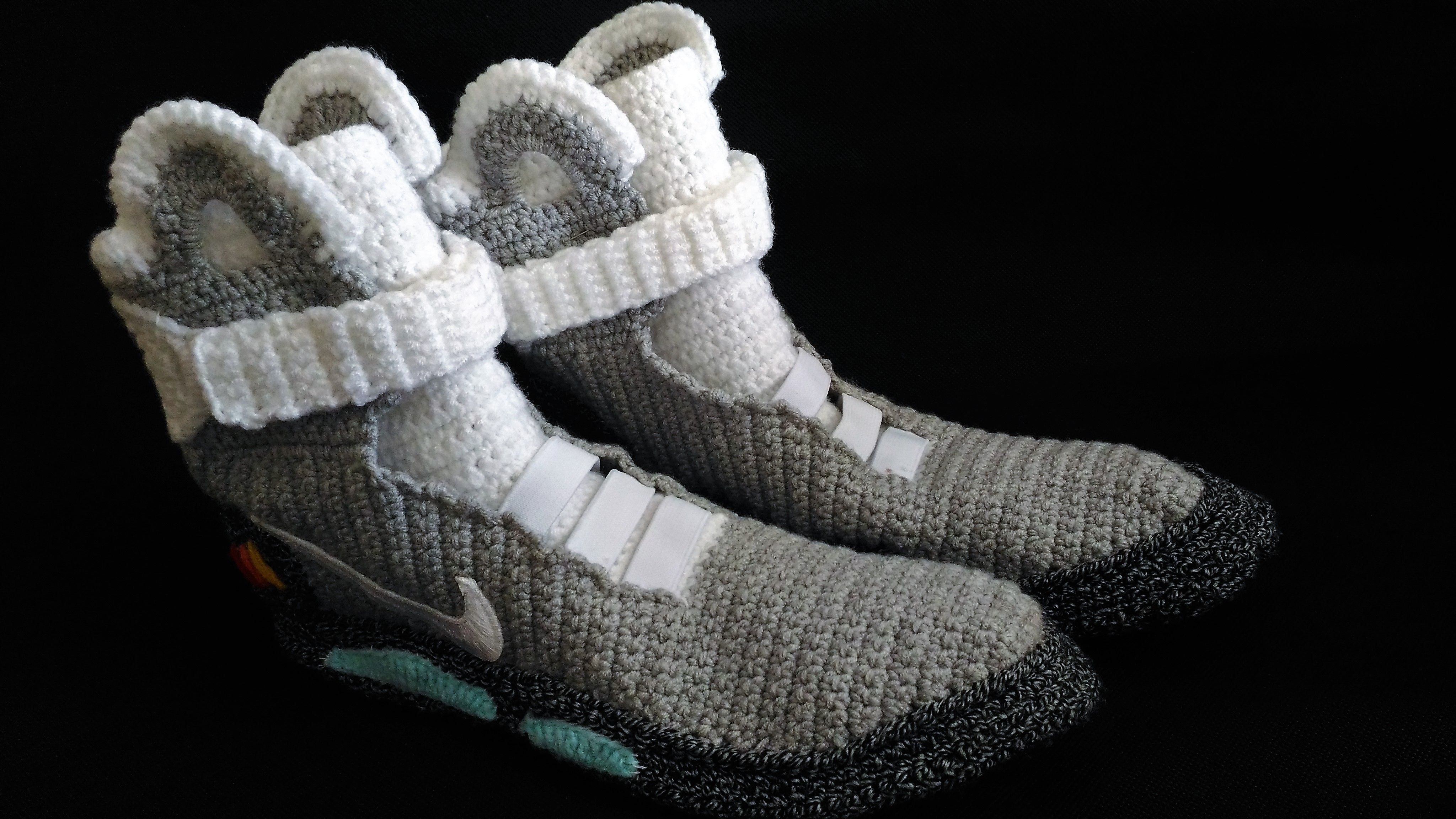 buy online f03f8 2c2f6 Marty Mcfly Shoes Nike Air Mags, Back To The Future, Knitted Slippers,  Handmade, Crochet Slipper Bootees, House Shoes, Air Mag Bootees  Bored  Panda