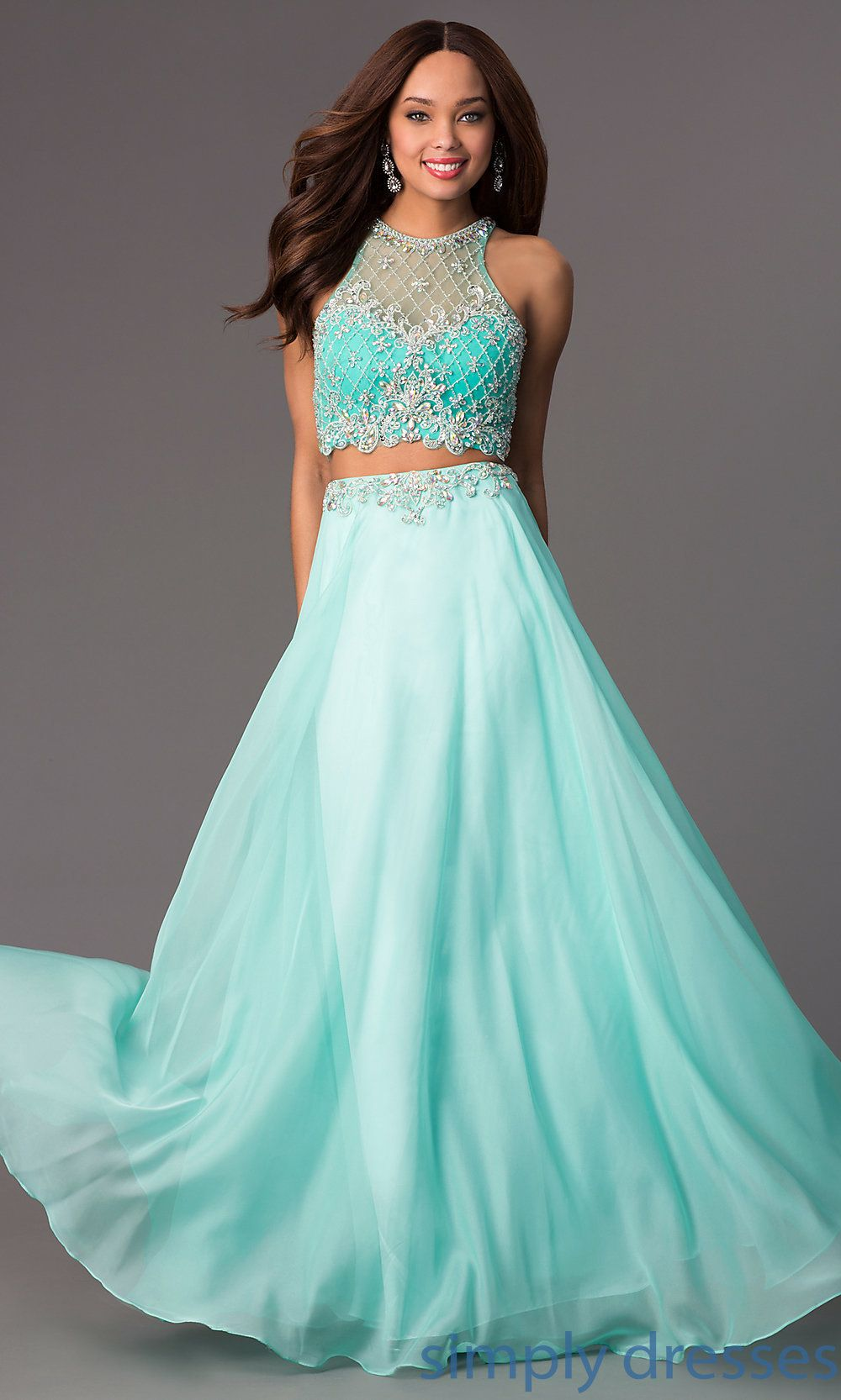 PO-7012 - Jeweled Illusion-Bodice Long Two-Piece Coral Dress ...
