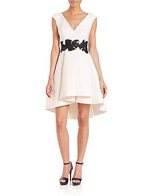 Halston Heritage Cap Sleeve Structured Dress - Eggshell - Size 10
