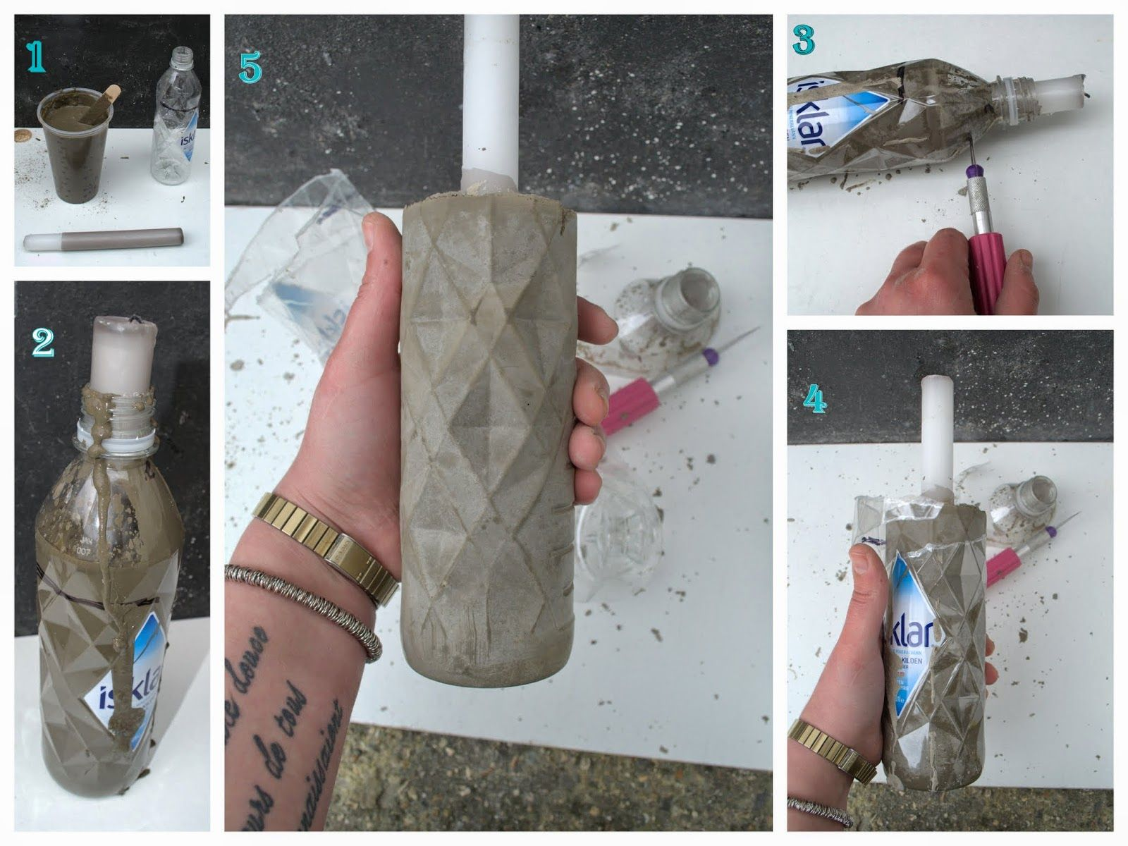 nostalgiecat: Concrete vase DIY...from a plastic bottle #vaseideen