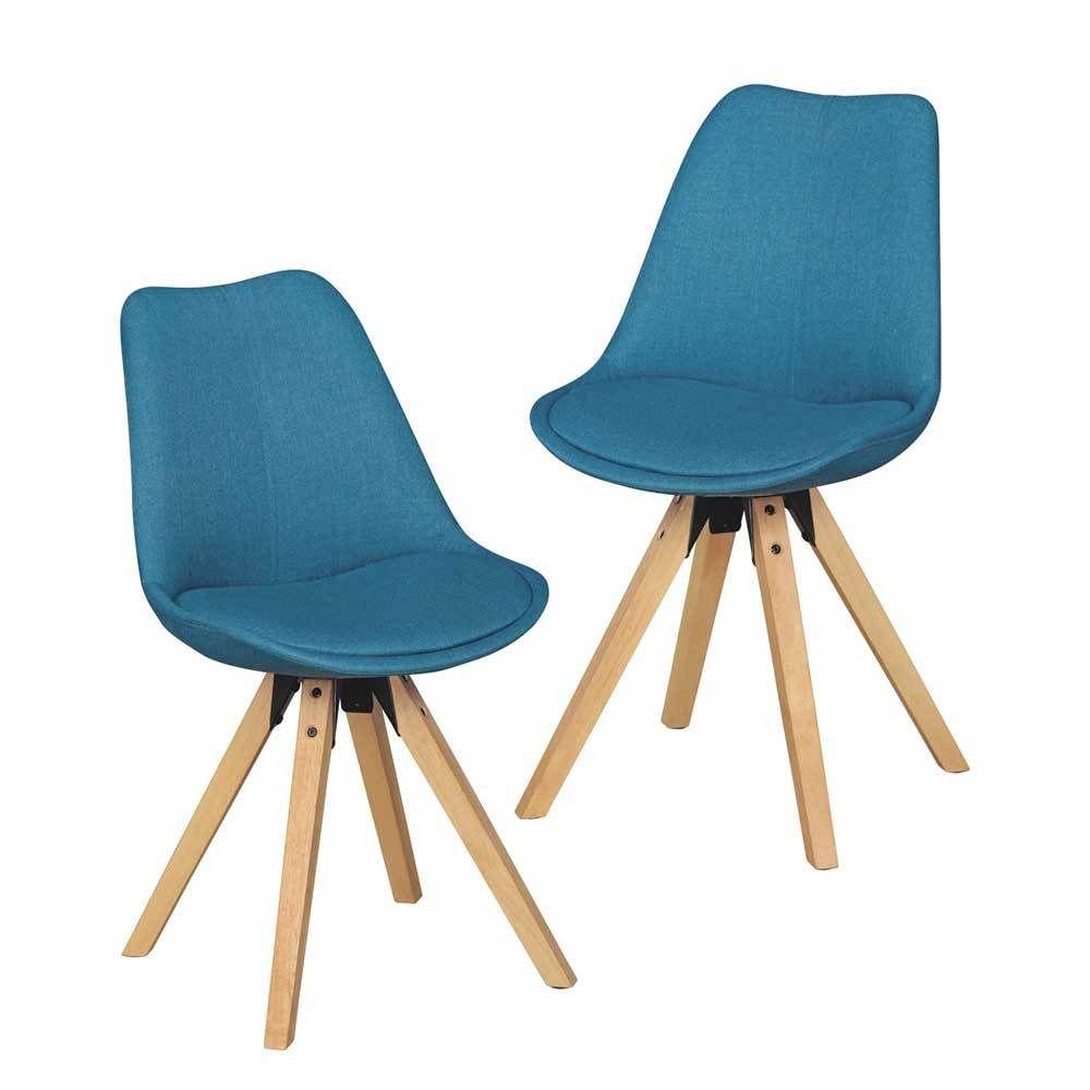 Schalenstuhl Set in Blau Stoff Holzbeine (2er Set) Jetzt bestellen ...