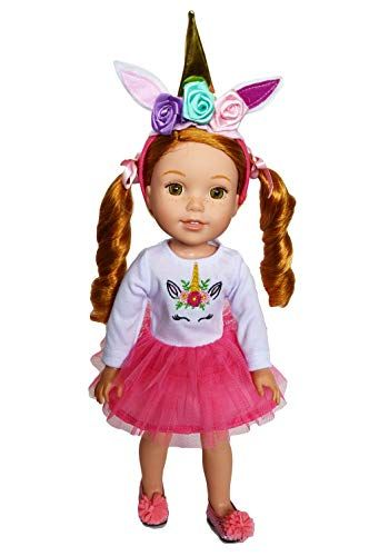 Unicorn Nightgown with Headpiece for Wellie Wisher Dolls 14.5 Inch Doll Clothes