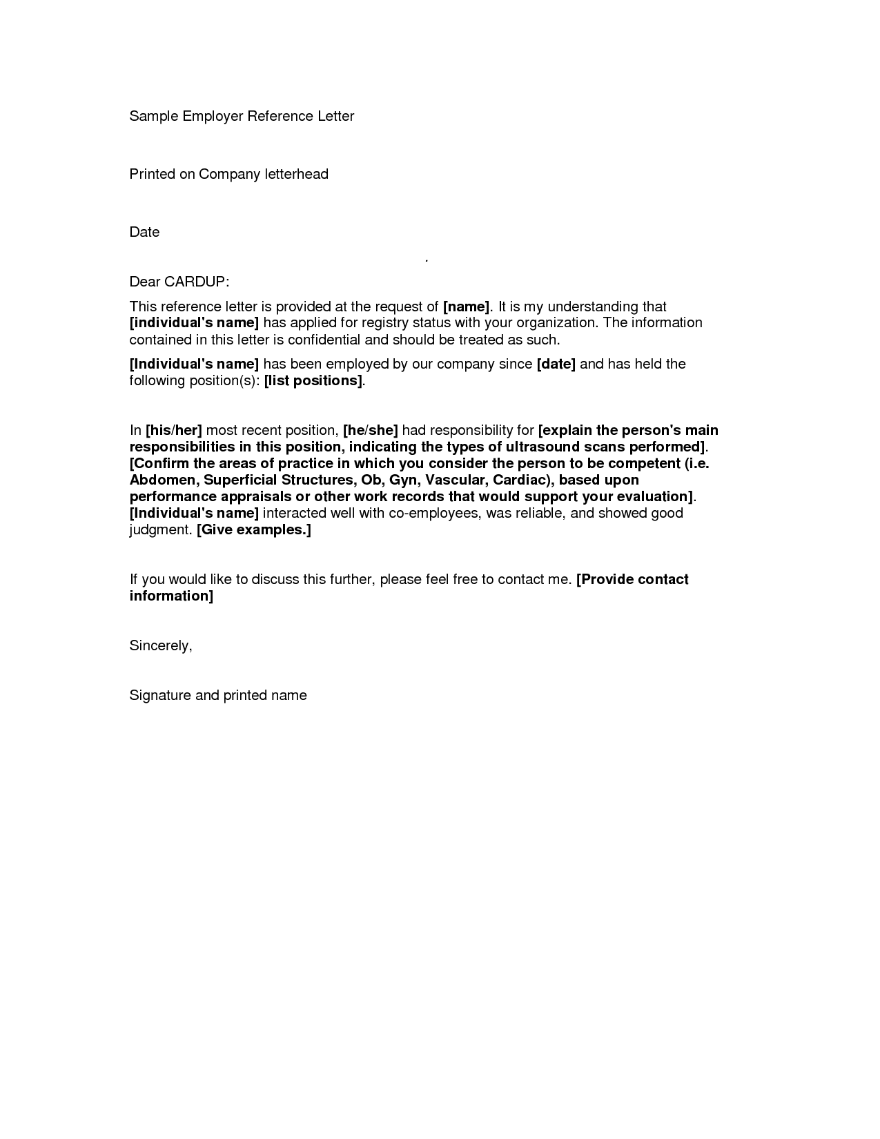 Sample Reference Letter From Employer  Letter Examples