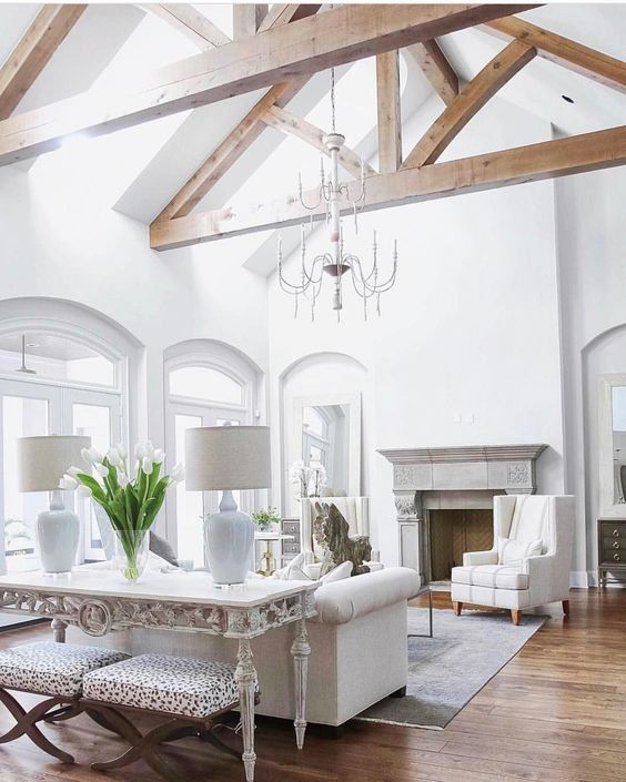 Beaming With Potential Decorator Girl Vaulted Ceiling Living Room Vaulted Living Rooms Beams Living Room
