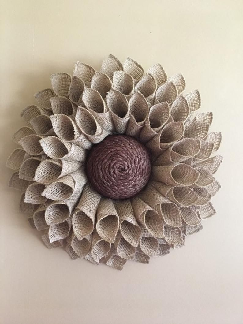 Photo of Small Natural Burlap Sunflower Wreath, Sunflower Wreath, Burlap Flower Wreath, Spring Wreath, Summer Wreath, Fall Wreath, Front Door Wreath