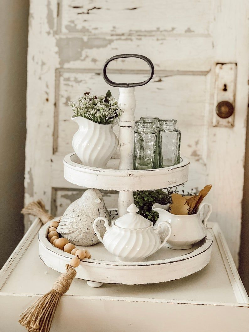 2 tier white distressed tray etsy in 2020 tiered tray