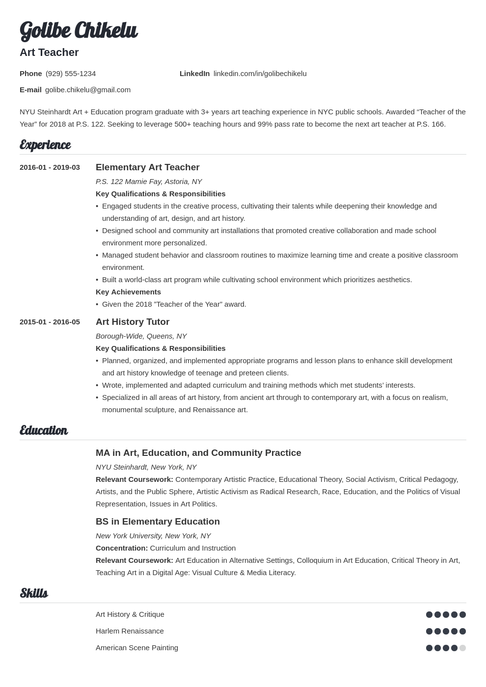 art teacher resume example template valera in 2020