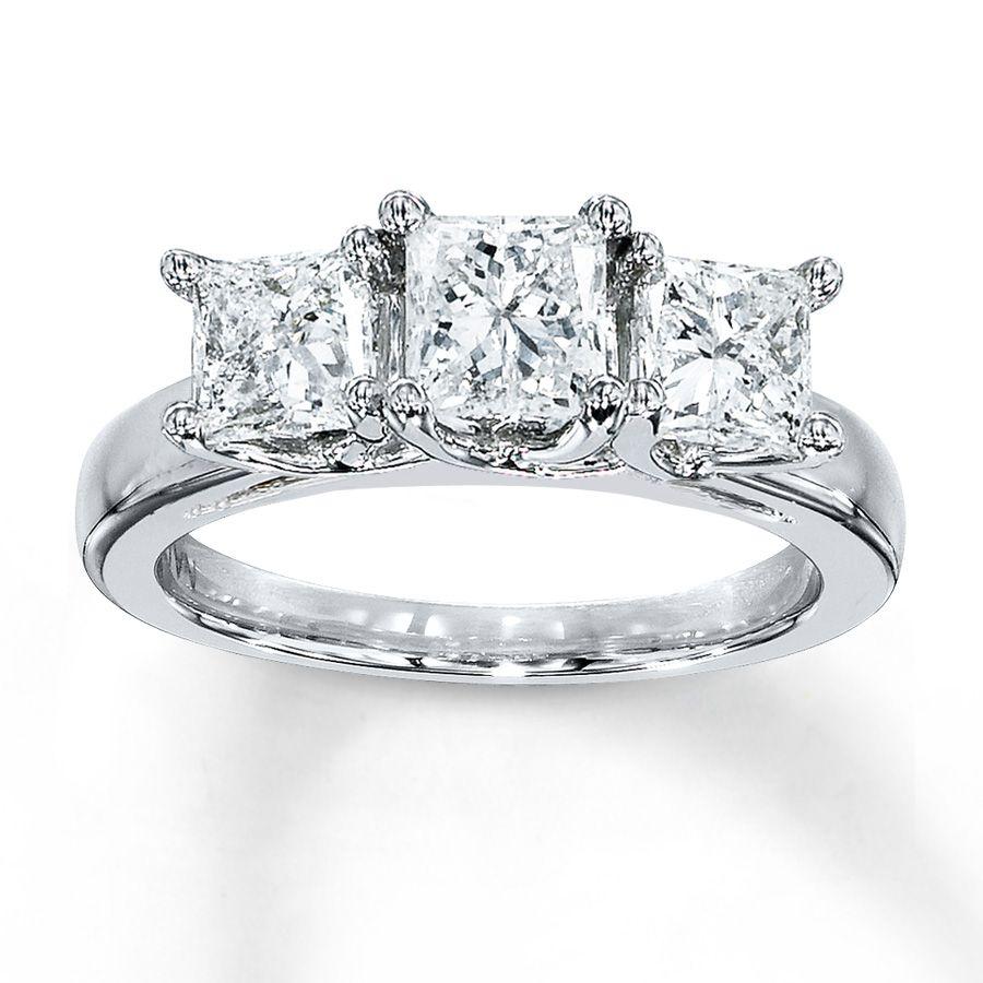 Jared Diamond Ring 2 Carat tw Princesscut 14K White Gold