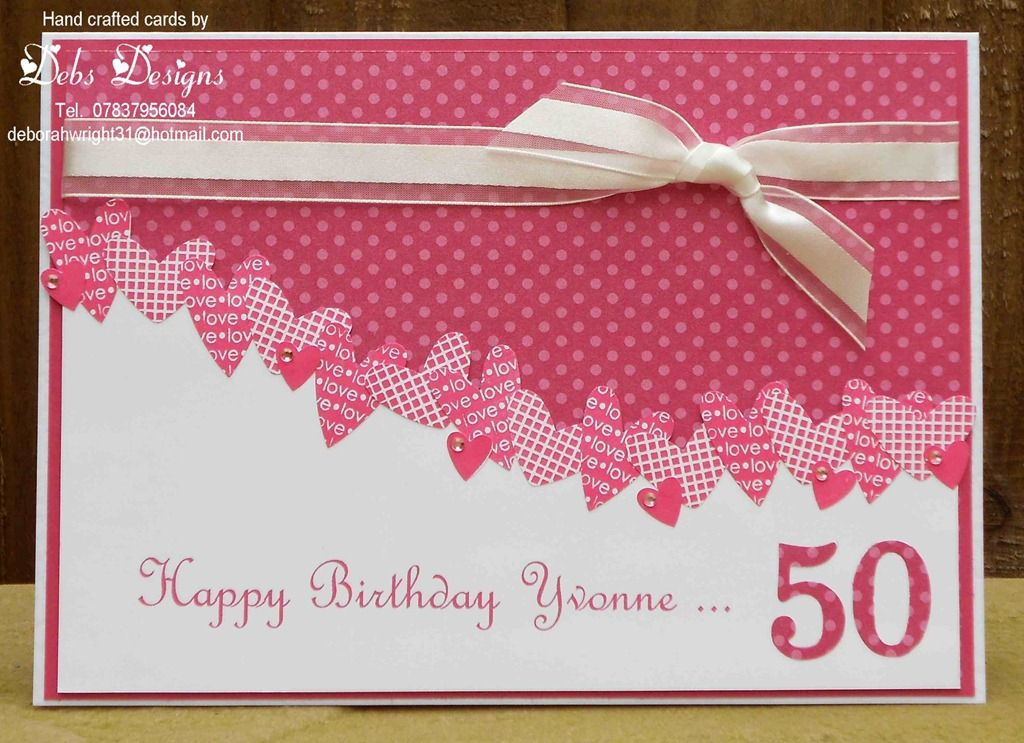 handmade card ... Hearts 'border' 2 ...curved dividing line covered with lots of smally punched hearts from several printed papers ... big die cut 50 for the age ... Stampin' Up!