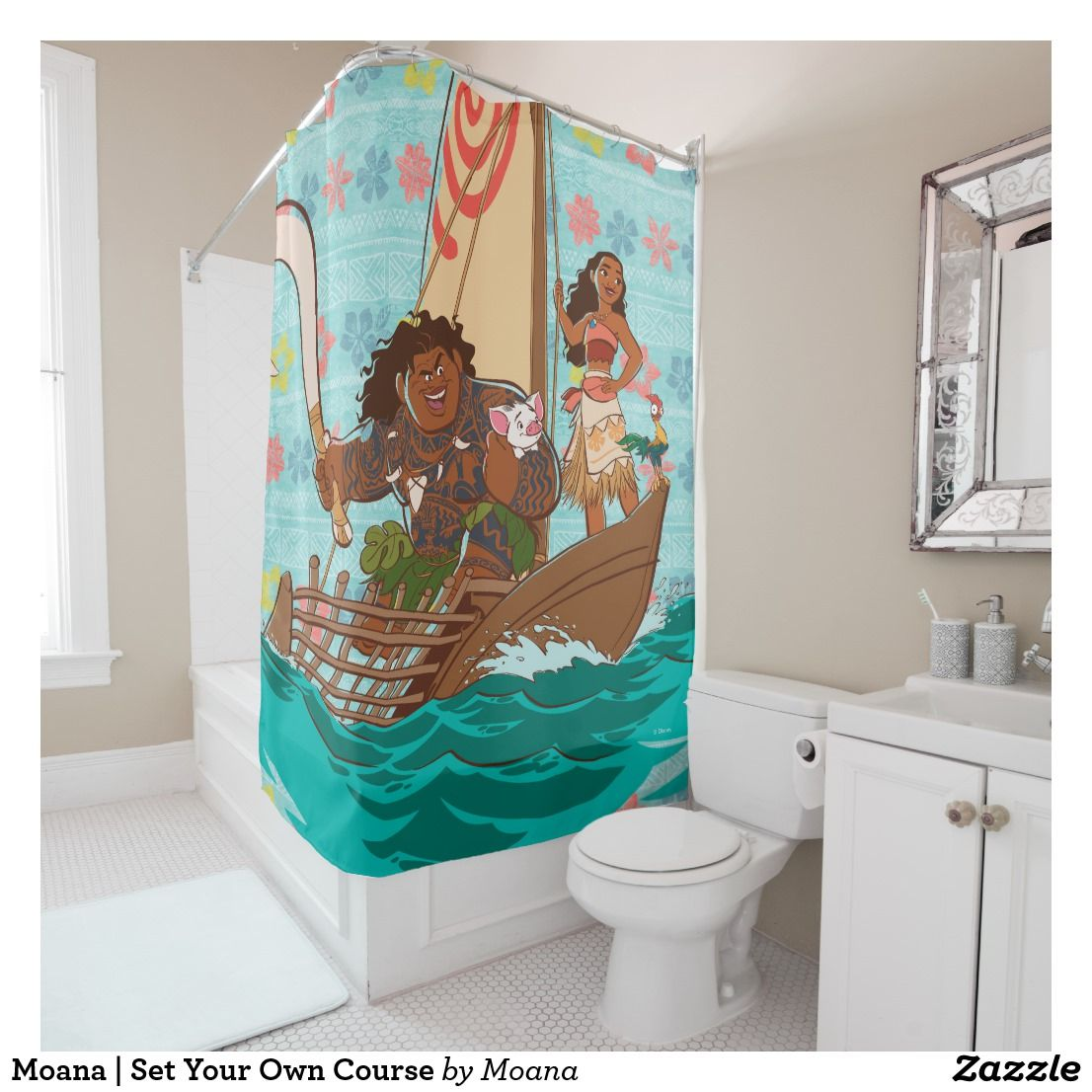 Moana Set Your Own Course Shower Curtain Zazzle Com Flower Shower Curtain Custom Shower Curtains Fabric Shower Curtains