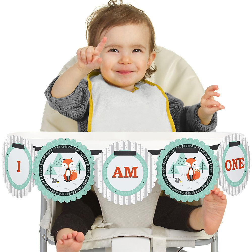 Mr. Foxy Fox - High Chair Birthday Party Banners | BigDotOfHappiness.com