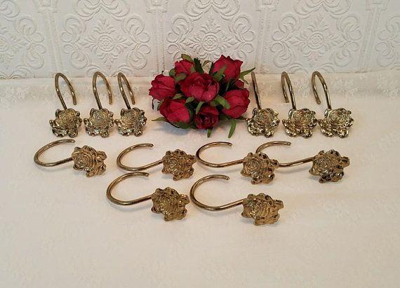 12 Gold Shower Curtain Hooks, Vintage Shower Rings, Rose Shaped ...