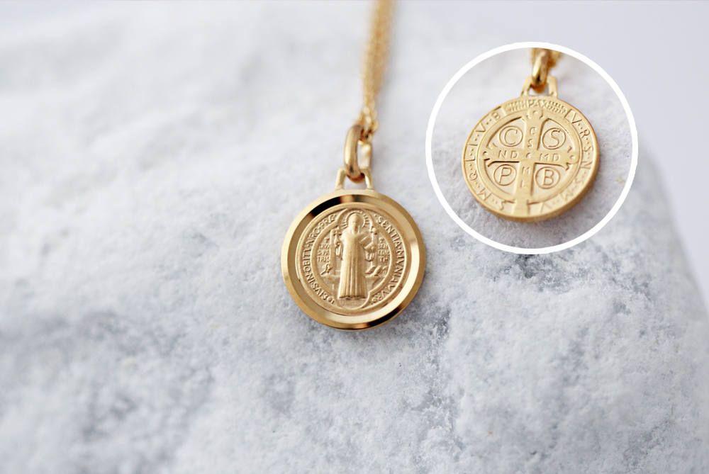 f04faa60bcb St Benedict - Jesus Christ Cross - Minimalist Necklace - 18K Gold Plated  Pendant - Religious Medal - Catholic Protection - Christian Art
