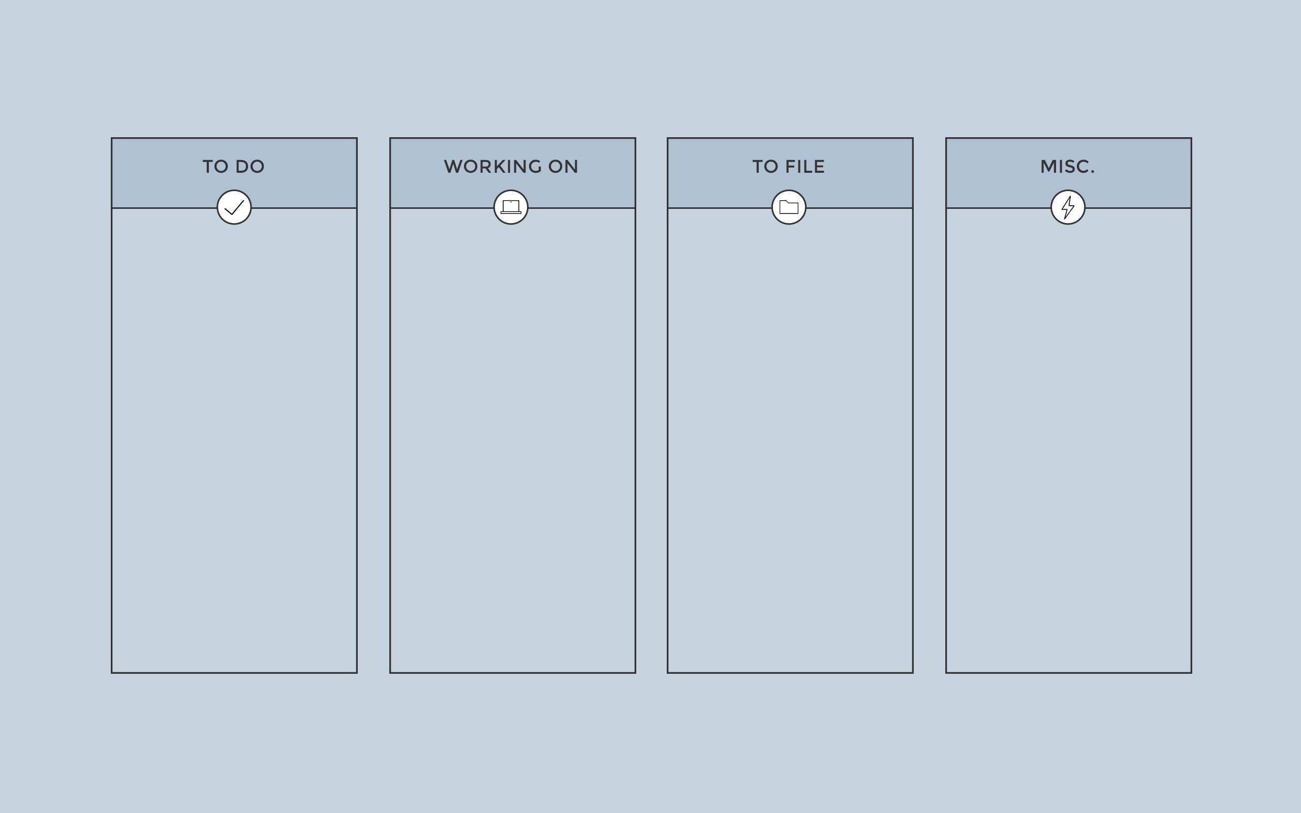Grey Blue Columns Desktop Organizer Wallpaper Background