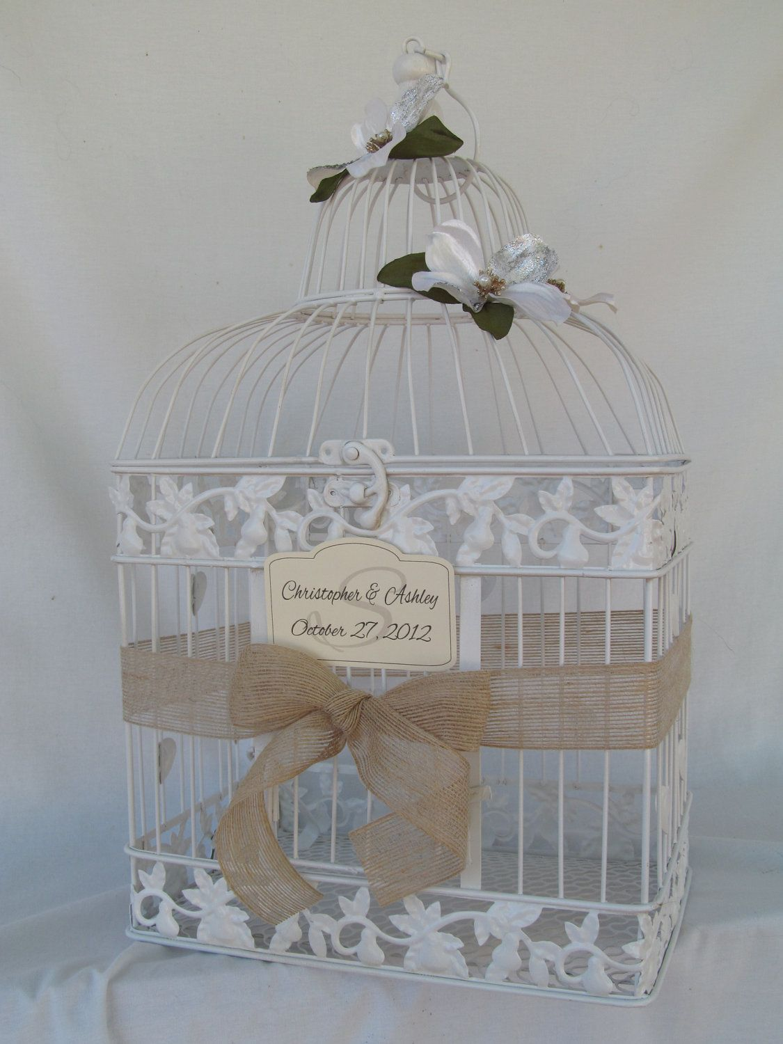 Rustic White Bird Cage Wedding Card Holder By Soclassicallychic