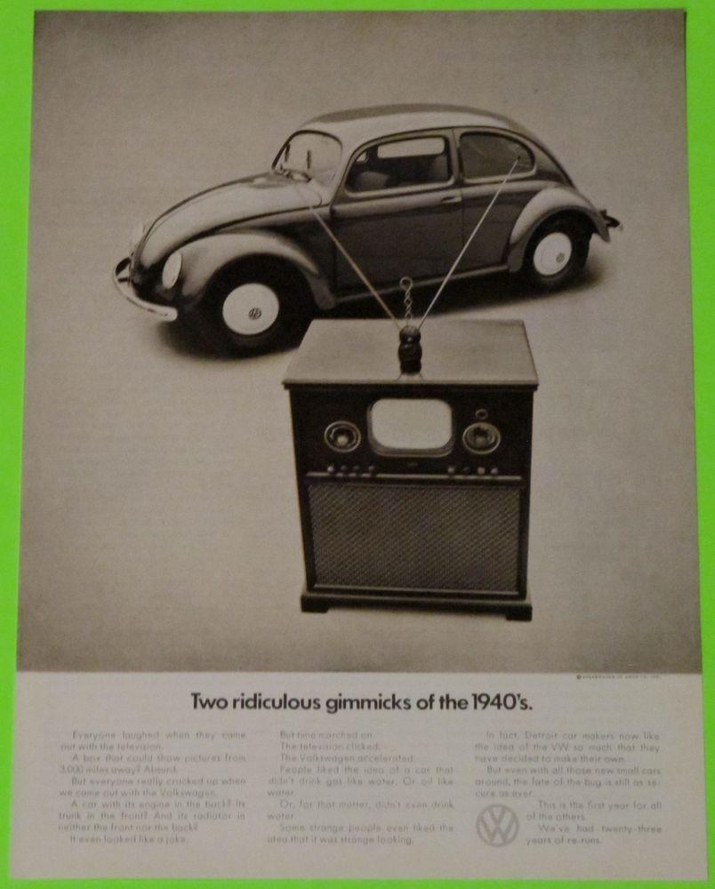 VW Volkswagen Bug Beetle 1971 Original Advertisement AD TV 1940s Gimmicks