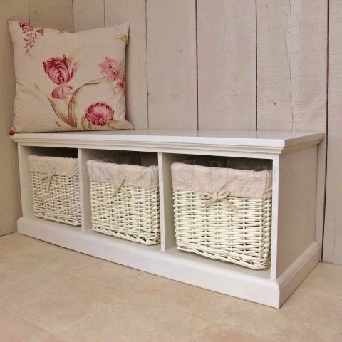 Attrayant Storage Bench With Baskets | Beautiful Bench Seat With 3 Storage Baskets  Underneath. Painted Cream .