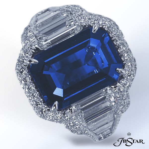 JB Star emerald cut sapphire with trapezoid and tapered baguettes.,,,,,,lovely   sapphire **+