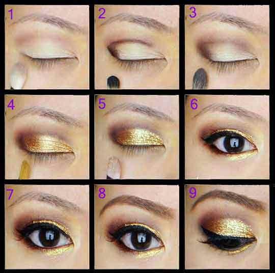 Maquillaje paso a paso dorado para ojos Peinados aleja Pinterest