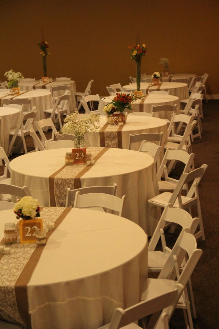 Im in love with the burlap and lace table runners too for Table and chair decorations for weddings