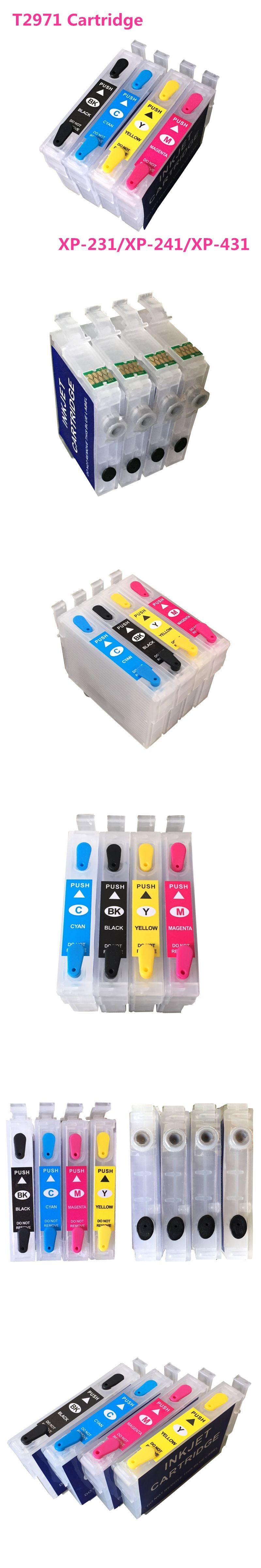 4 colors XP231 XP241 cartridge For Epson T2971 Refillable Ink Cartridge For Epson XP431 XP