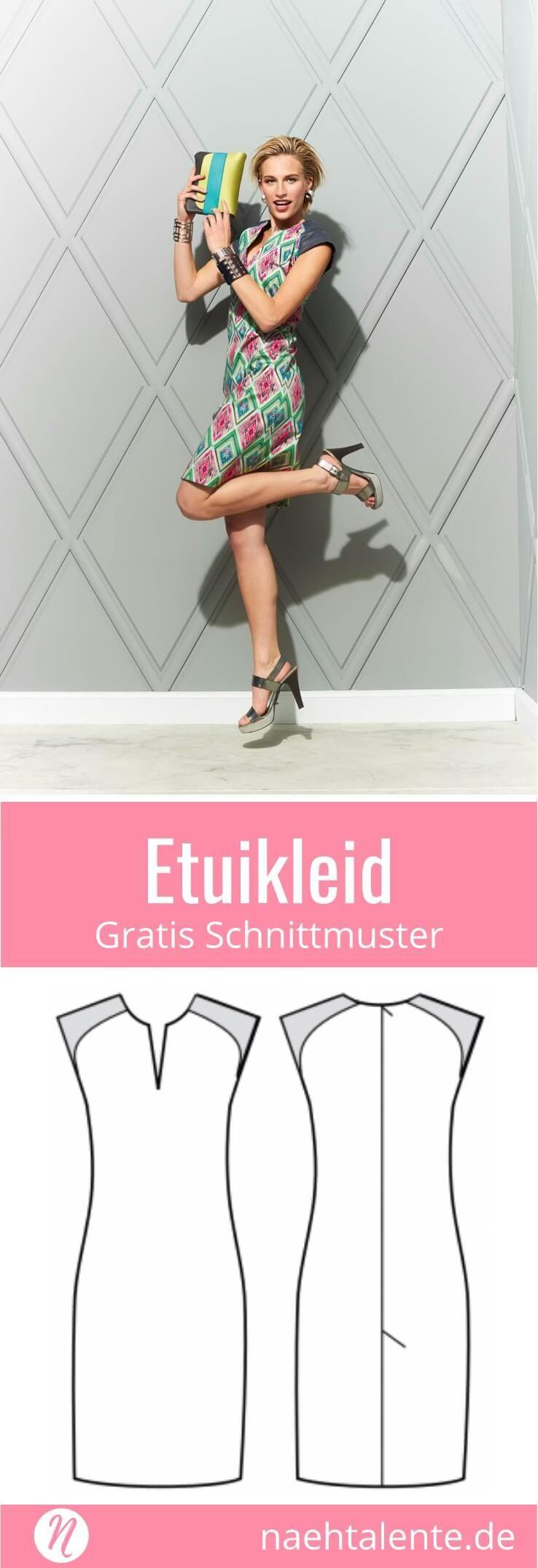 Etuikleid für Damen - gratis Schnittmuster Tipp - Größe 36 - 46 #sewins