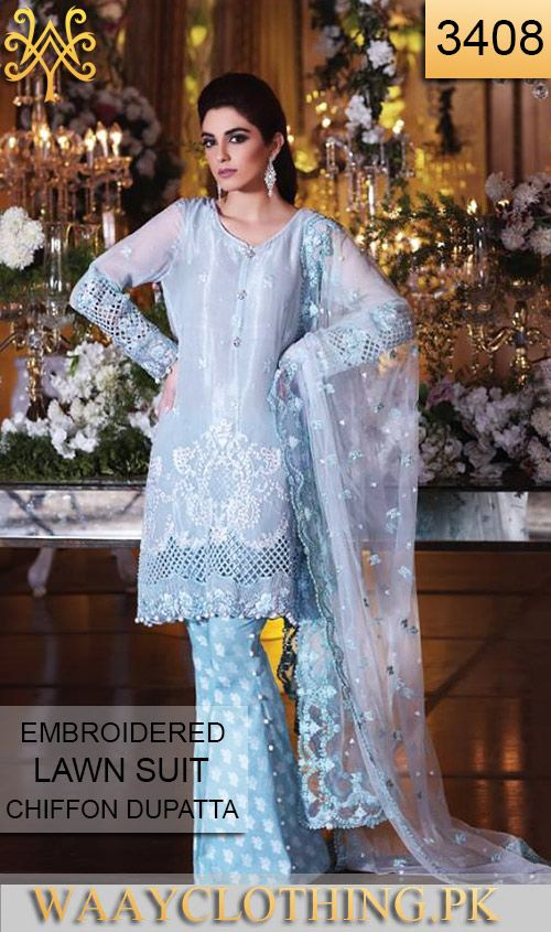 Wyyh 3408 Front Embroidery Designer 3pc Lawn Suit With Chiffon