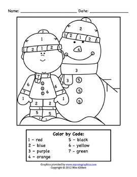 color by number winter and snowman