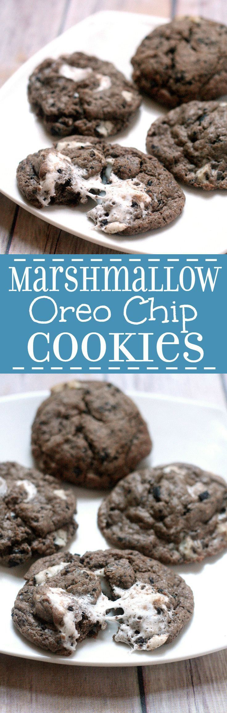 Marshmallow Oreo Chip Cookies is part of Cookies recipes christmas - Marshmallow Oreo Chip Cookies are a sort of everythingbutthekitchensink chocolate cookie recipe with gooey marshmallows, Oreos, and Cookies 'N Cream Bars