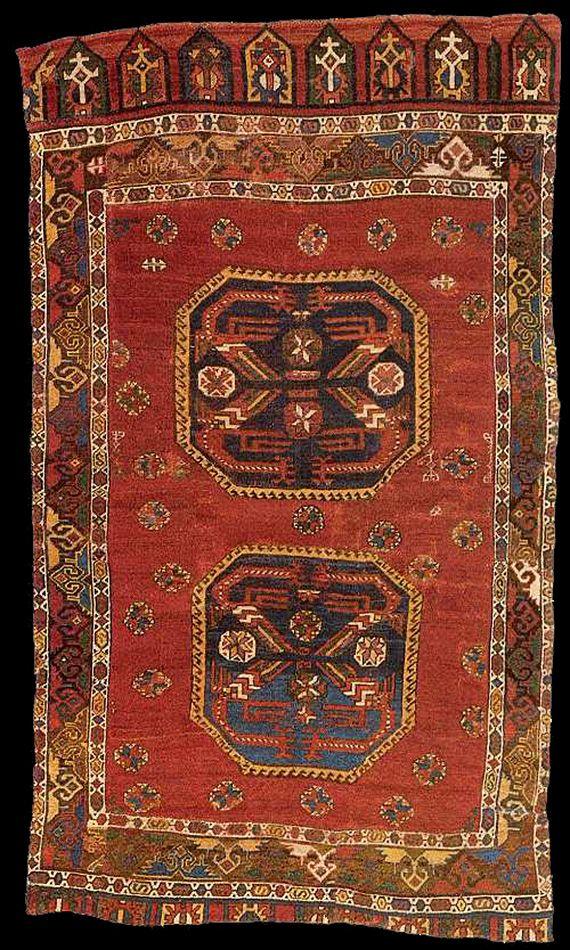 XVI Century Anatolian Rug With Phoenix Motif Inside The Octagonal  Medallions, Published At Hali Magazine