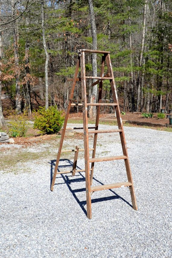 Vintage Wood Ladder Folding Tall Wooden Step Ladder Rustic Wooden Steps Wood Ladder Step Ladders