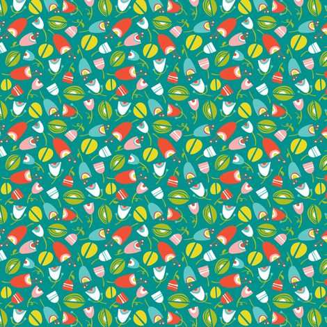 Fresh Cut Floral - Spring Fling Turquoise fabric by heatherdutton on Spoonflower - custom fabric