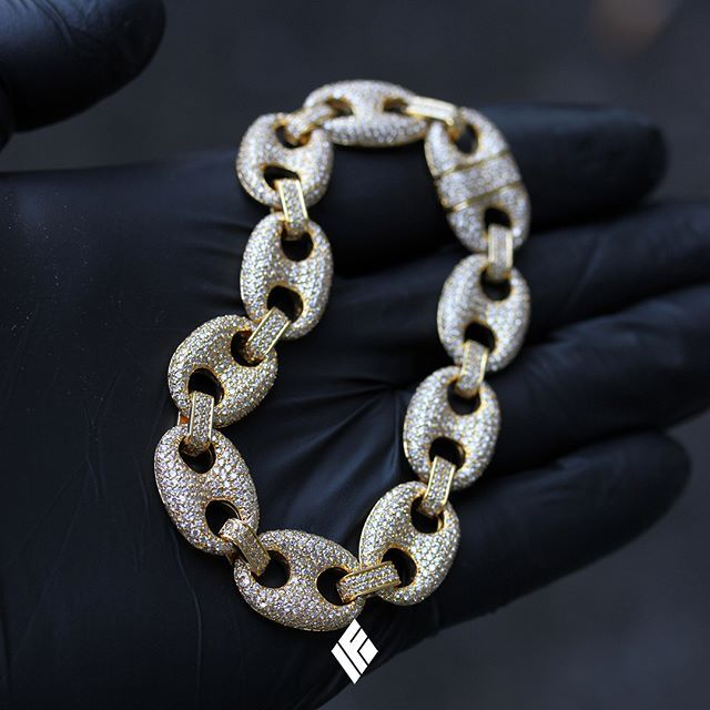 10mm 14k Gold Cz G Link Chain Hip Hop Jewelry King Ice >> 14k Yellow Gold 13mm Diamond Gucci Link Bracelet Fully Iced Out